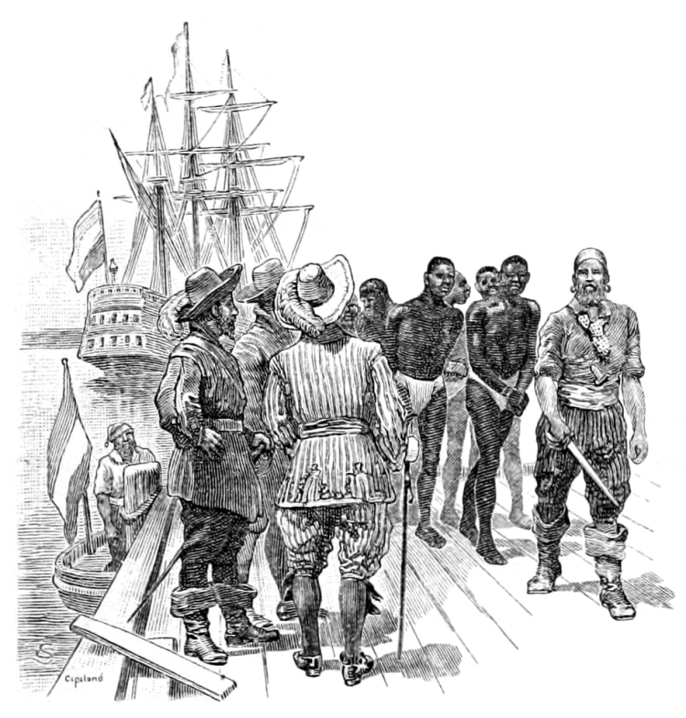 This image has an empty alt attribute; its file name is the_leading_facts_of_american_history_1910_-_the_first_negro_slaves_brought_to_virginia.png